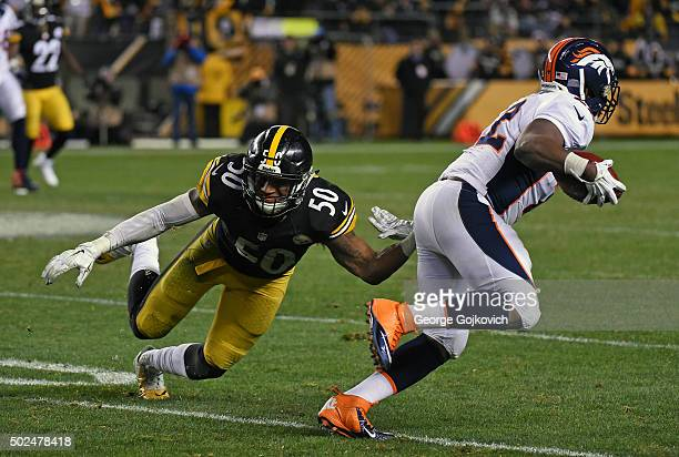 Linebacker Ryan Shazier of the Pittsburgh Steelers reaches to tackle running back CJ Anderson of the Denver Broncos during a game at Heinz Field on...