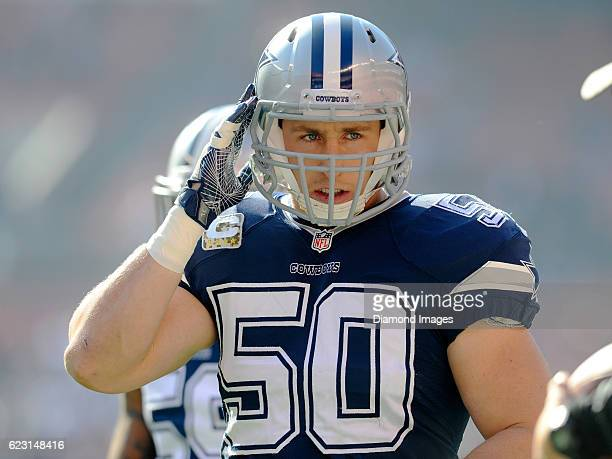 Linebacker Sean Lee of the Dallas Cowboys walks onto the field prior to a game against the Cleveland Browns on November 6, 2016 at FirstEnergy...