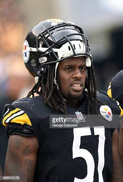 Linebacker Sean Spence of the Pittsburgh Steelers looks on from the sideline during a game against the Tampa Bay Buccaneers at Heinz Field on...