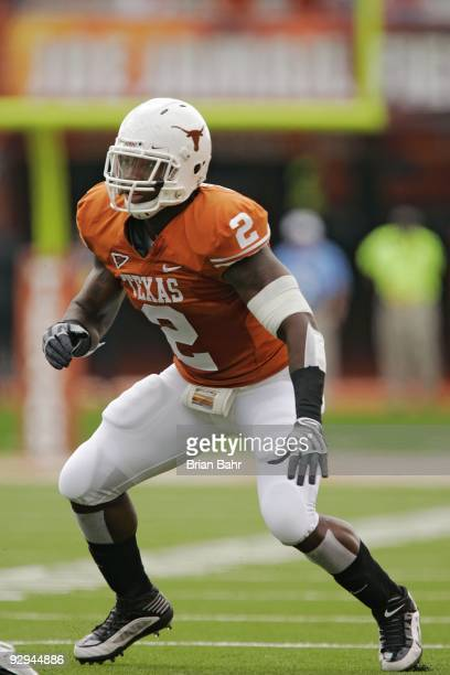 Linebacker Sergio Kindle of the Texas Longhorns lines up against the UCF Knights on November 7 2009 at Darrell K Royal Texas Memorial Stadium in...