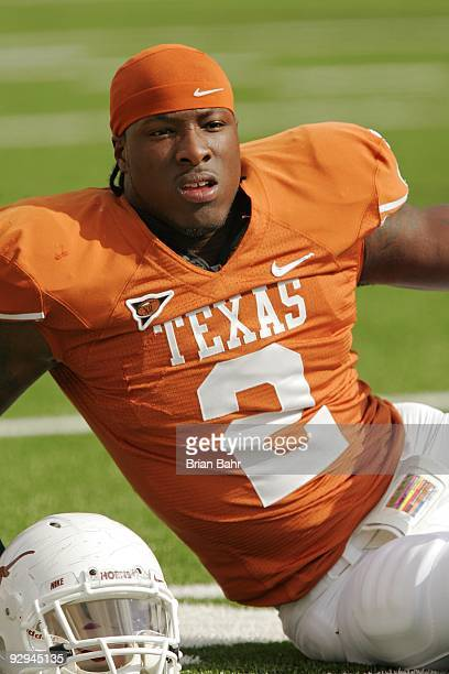 Linebacker Sergio Kindle of the Texas Longhorns stretches before a game against the UCF Knights on November 7, 2009 at Darrell K Royal - Texas...