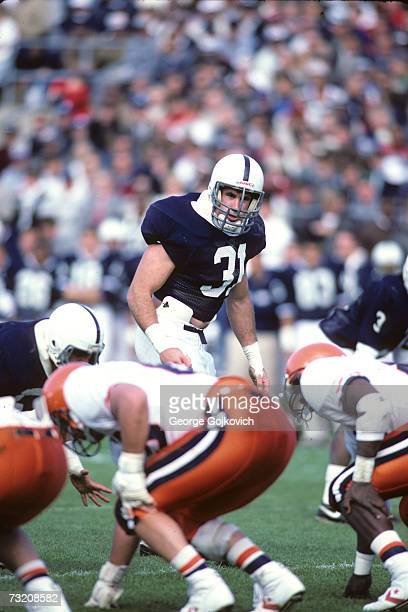 Linebacker Shane Conlan of the Penn State University Nittany Lions in action during a game at Beaver Stadium in October 1986 in State College...