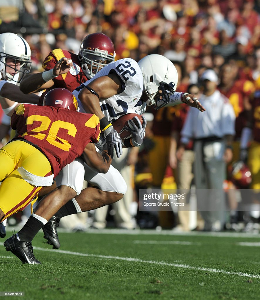 Linebacker Shane Thompson #22 of the Pennsylvania State Lions runs with the ball before getting tackled during the second half of the game against the University of Southern California Trojans on January 1, 2009 at the Rose Bowl in Pasadena, California. Univeristy of Southern California defeated Pennsylvania State 38-24.