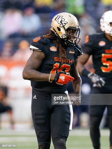 Linebacker Shaquem Griffin from Central Florida on the South Team during the 2018 Resse's Senior Bowl game at LaddPeebles Stadium on January 27 2018...