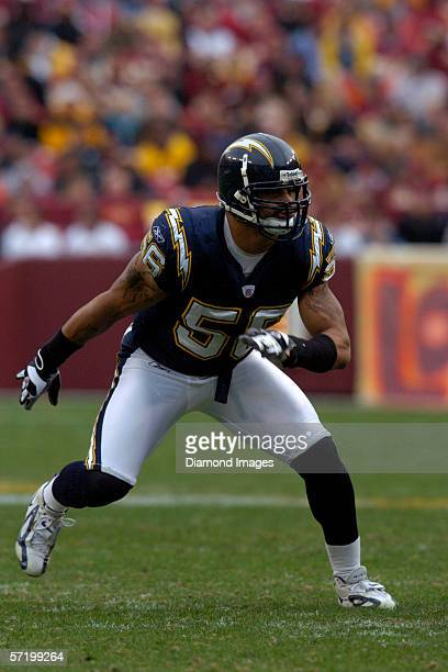 Linebacker Shawne Merriman of the San Diego Chargers during a game on November 27 2005 against the Washington Redskins at Fedex Field in Landover...