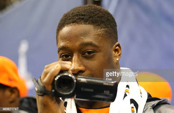 Linebacker Steven Johnson of the Denver Broncos uses a camcorder during Super Bowl XLVIII Media Day at the Prudential Center on January 28 2014 in...