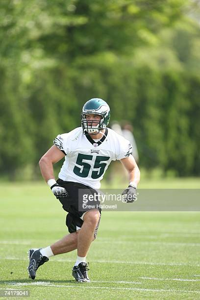Linebacker Stewart Bradley of the Philadelphia Eagles in action during minicamp on May 12 2007 at the NovaCare Complex in Philadelphia Pennsylvania