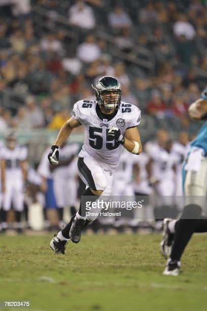 Linebacker Stewart Bradley of the Philadelphia Eagles runs across the fieldduring the game against the Carolina Panthers on August 17, 2007 at...