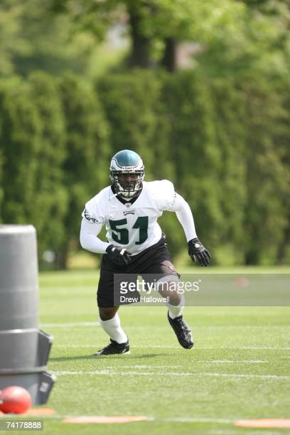 Linebacker Takeo Spikes of the Philadelphia Eagles in action during minicamp on May 12 2007 at the NovaCare Complex in Philadelphia Pennsylvania