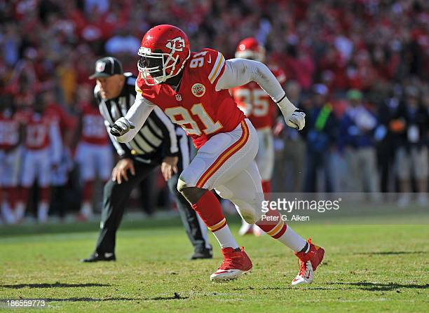 Linebacker Tamba Hali of the Kansas City Chiefs gets rushes on defense against the Cleveland Browns during the second half on October 27 2013 at...