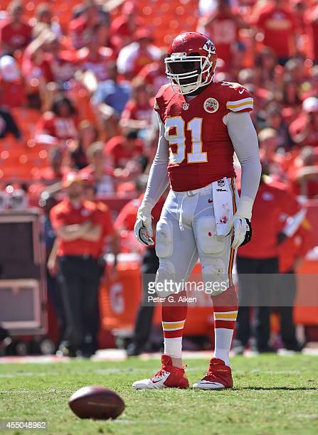 Linebacker Tamba Hali of the Kansas City Chiefs gets set on defense against the Tennessee Titans during the second half on September 7, 2014 at...