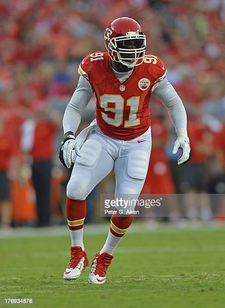 Linebacker Tamba Hali of the Kansas City Chiefs gets set on the line against the San Francisco 49ers during the first half on August 16, 2013 at...