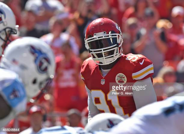 Linebacker Tamba Hali of the Kansas City Chiefs looks across the line against the Tennessee Titans during the second half on September 7, 2014 at...