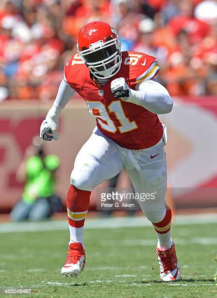 Linebacker Tamba Hali of the Kansas City Chiefs rushes against the Tennessee Titans during the first half on September 7, 2014 at Arrowhead Stadium...