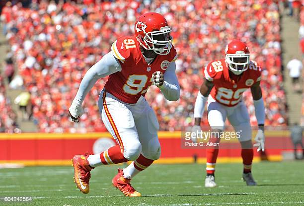 Linebacker Tamba Hali of the Kansas City Chiefs rushes on defense against the San Diego Chargers during the first half on September 11 2016 at...