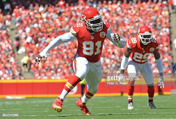 Linebacker Tamba Hali of the Kansas City Chiefs rushes on defense against the San Diego Chargers during the first half on September 11, 2016 at...