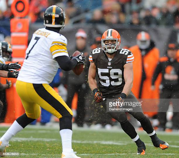 Linebacker Tank Carder of the Cleveland Browns rushes the quarterback during a game against the Pittsburgh Steelers at FirstEnergy Stadium in...