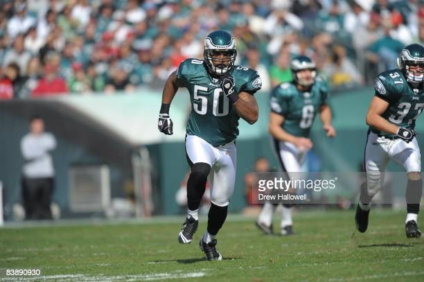 Linebacker Tank Daniels of the Philadelphia Eagles runs during the game against the Atlanta Falcons on October 26, 2008 at Lincoln Financial Field in...