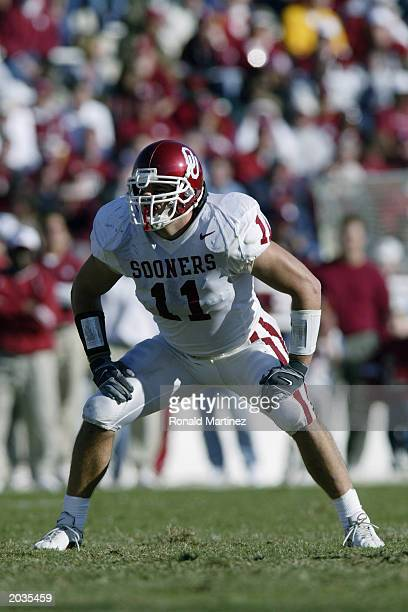 Linebacker Teddy Lehman of the University of Oklahoma Sooners waits for the snap during the game against the Baylor University Bears at Floyd Casey...