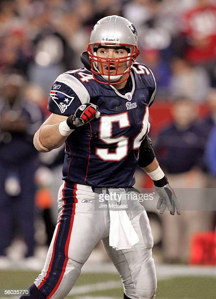 Linebacker Tedy Bruschi of the New England Patriots celebrates a defensive stop by his team in the first quarter against the Buffalo Bills on October...