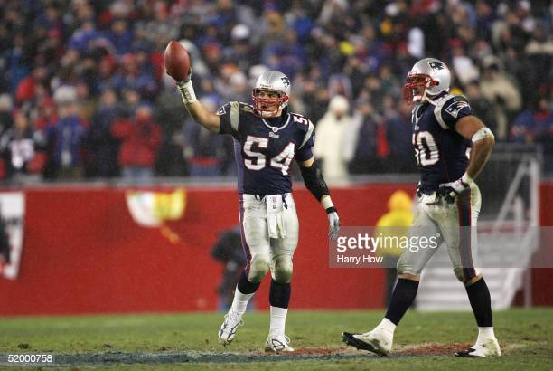 Linebacker Tedy Bruschi of the New England Patriots recovers a fumble by the Indianapolis Colts during the AFC divisional playoff game at Gillette...