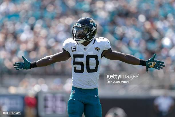 Linebacker Telvin Smith of the Jacksonville Jaguars celebrates after a tackle during the game against the Tennessee Titans at TIAA Bank Field on...