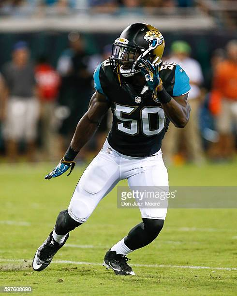 Linebacker Telvin Smith of the Jacksonville Jaguars during a preseason game against the Cincinnati Bengals at EverBank Field on August 28 2016 in...