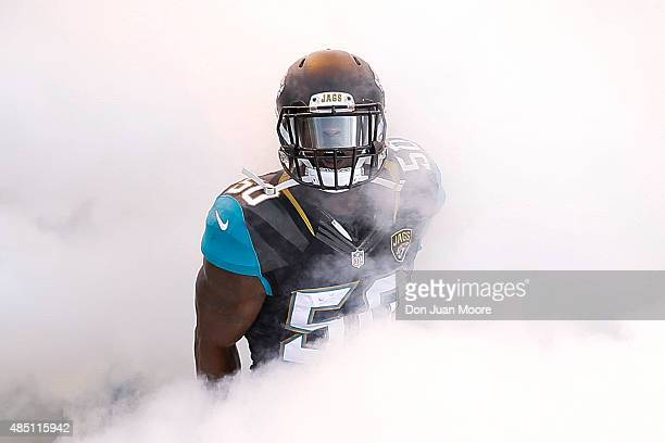 Linebacker Telvin Smith of the Jacksonville Jaguars enters the field during the team's introduction before a preseason game against the Pittsburgh...