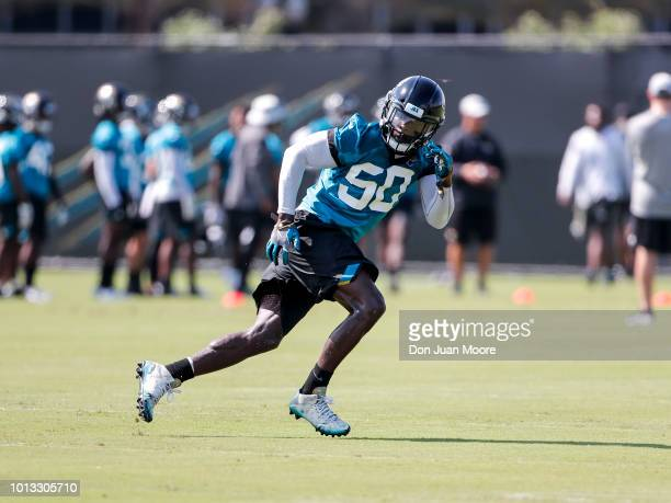 Linebacker Telvin Smith of the Jacksonville Jaguars works out during Training Camp at Dream Finders Homes Practice Complex on July 27 2018 in...