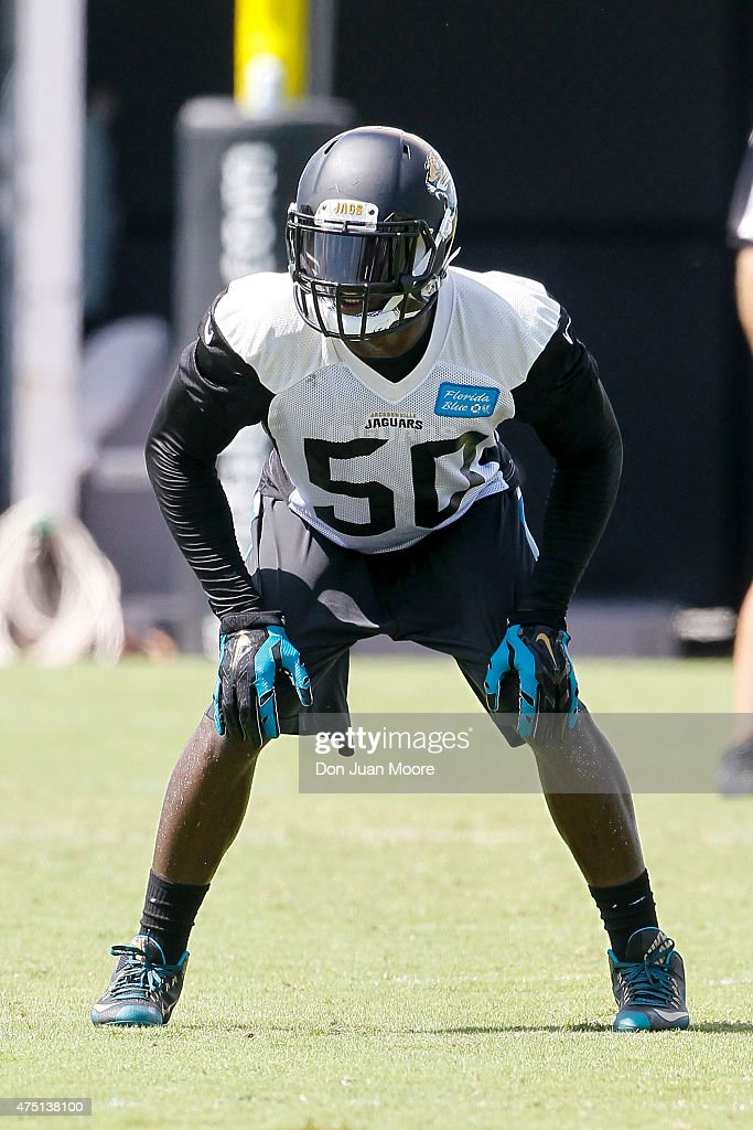 Linebacker Telvin Smith #50 of the Jacksonville Jaguars works out during OTA's at Everbank Field Stadium at the Florida Blue Health and Wellness Practice Fields on May 27, 2015 in Jacksonville, Florida.