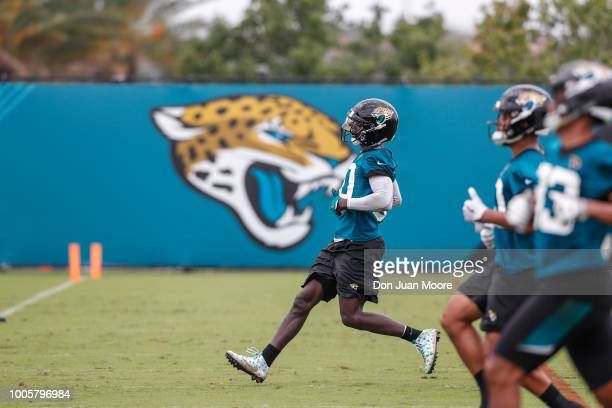 Linebacker Telvin Smith Sr #50 of the Jacksonville Jaguars runs drills after Training Camp at Dream Finders Homes Practice Complex on July 26 2018 in...