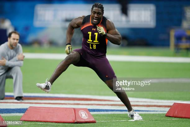 Linebacker Te'von Coney of Notre Dame works out during day four of the NFL Combine at Lucas Oil Stadium on March 3 2019 in Indianapolis Indiana