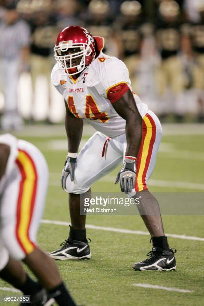 Linebacker Tim Dobbins of the Iowa St. Cyclones lines up against the Army Black Knights during their game on September 23, 2005 at Michie Stadium in...