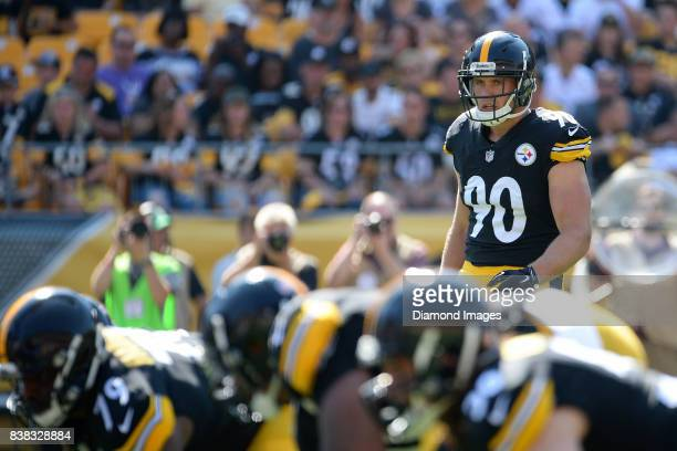 Linebacker TJ Watt of the Pittsburgh Steelers awaits the snap from his position in the first quarter of a preseason game on August 20 2017 against...