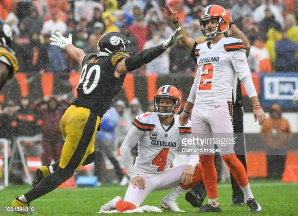 Linebacker TJ Watt of the Pittsburgh Steelers celebrates a blocked field goal in overtime of a game against the Cleveland Browns on September 9 2018...