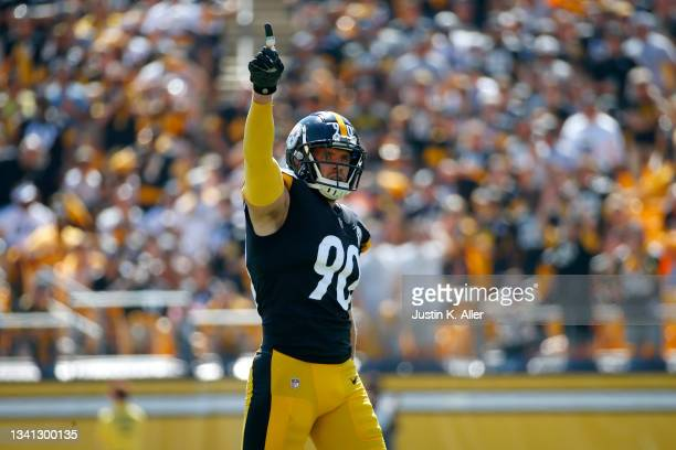 Linebacker T.J. Watt of the Pittsburgh Steelers reacts during the first half of the game against the Las Vegas Raiders at Heinz Field on September...
