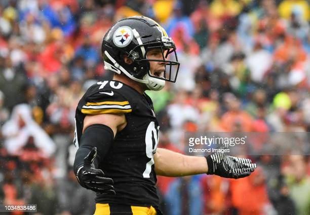 Linebacker TJ Watt of the Pittsburgh Steelers reacts to a penalty in the first quarter of a game against the Cleveland Browns on September 9 2018 at...