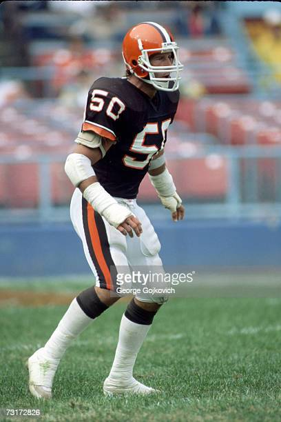 Linebacker Tom Cousineau of the Cleveland Browns in action during a National Football League game at Municipal Stadium in October 1984 in Cleveland...