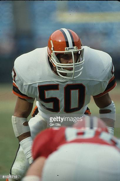 Linebacker Tom Cousineau of the Cleveland Browns looks into the opposing backfield against the Atlanta Falcons in Atlanta FultonCounty Stadium on...