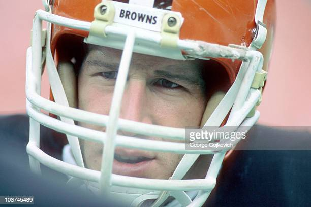 Linebacker Tom Cousineau of the Cleveland Browns looks on from the sideline during a National Football League game at Municipal Stadium circa 1984 in...