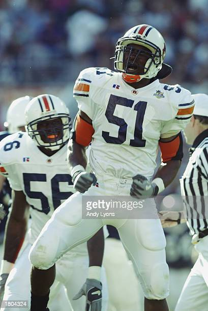 Linebacker Travis Williams of the Auburn University Tigers celebrates a defensive play against the Pennsylvania State University Lions during the...