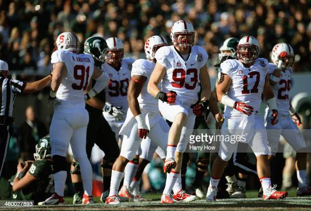 Linebacker Trent Murphy of the Stanford Cardinal celebrates after a play against the Michigan State Spartans in the first quarter of the 100th Rose...