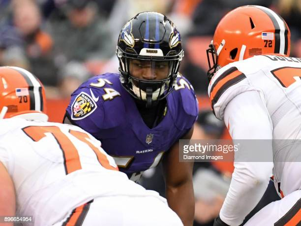 Linebacker Tyus Bowser of the Baltimore Ravens awaits the snap from his position in the second quarter of a game on December 17 2017 against the...