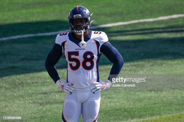 Linebacker Von Miller of the Denver Broncos catches his breath on the field during a training session at UCHealth Training Center on August 18, 2020...