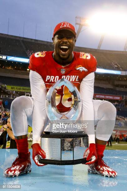 Linebacker Von Miller of the Denver Broncos from the AFC Team poses with winning team trophy after the NFL Pro Bowl Game at Camping World Stadium on...