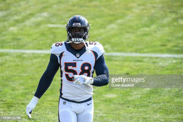 Linebacker Von Miller of the Denver Broncos participates in a drill during a training session at UCHealth Training Center on August 20, 2020 in...
