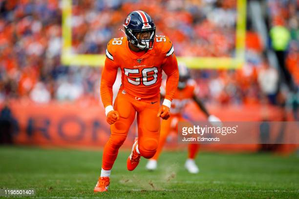 Linebacker Von Miller of the Denver Broncos rushes the passer on the field against the Detroit Lions during the first quarter at Empower Field at...