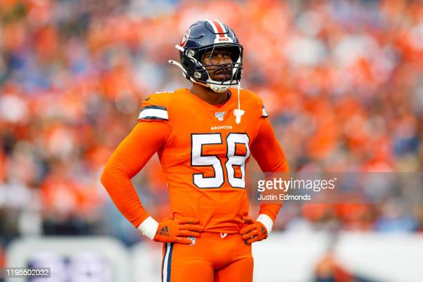 Linebacker Von Miller of the Denver Broncos stands on the field against the Detroit Lions during the first quarter at Empower Field at Mile High on...