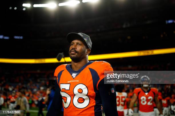 Linebacker Von Miller of the Denver Broncos walks off the field after the game against the Kansas City Chiefs at Empower Field at Mile High on...