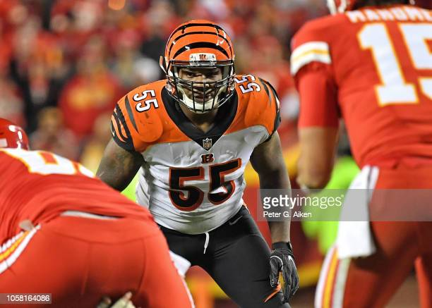 Linebacker Vontaze Burfict of the Cincinnati Bengals gets set on defense against the Kansas City Chiefs during the second half on October 21 2018 at...